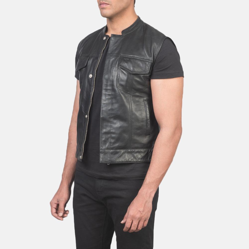 Men's Atlas Moto Black Leather Vest 2