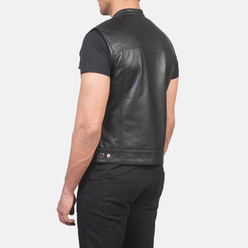 Men's Atlas Moto Black Leather Vest 5