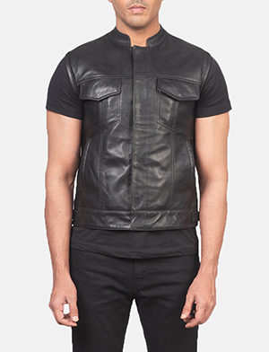Men's Atlas Moto Black Leather Vest