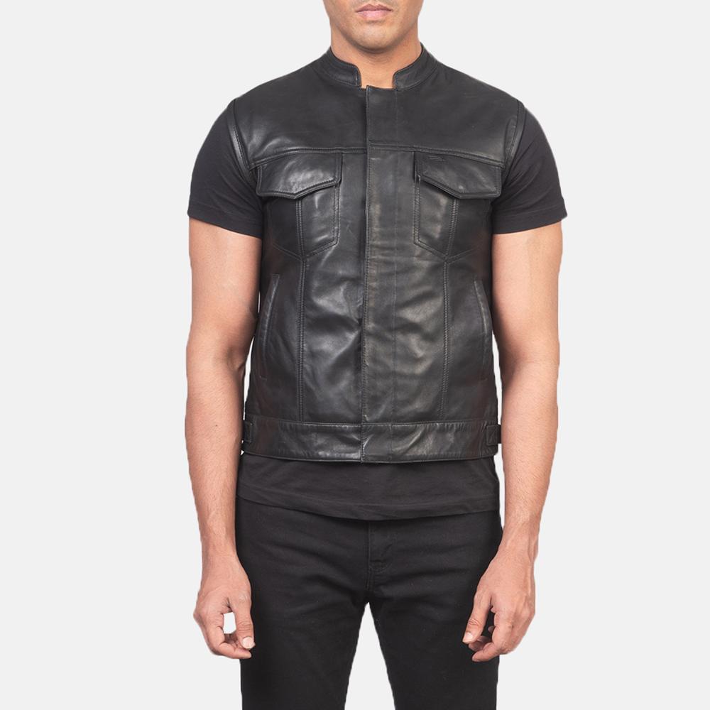 Men's Atlas Moto Black Leather Vest 4