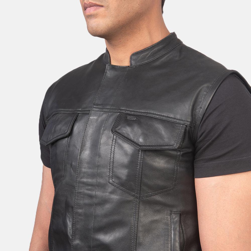 Men's Atlas Moto Black Leather Vest 6