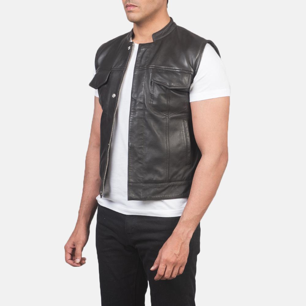 Men's Atlas Moto Brown Leather Vest 2