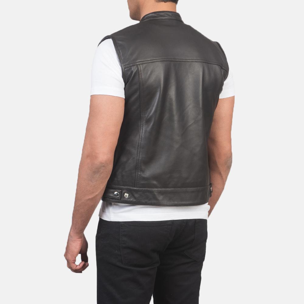 Men's Atlas Moto Brown Leather Vest 5