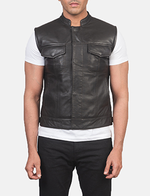 Men's Atlas Moto Brown Leather Vest