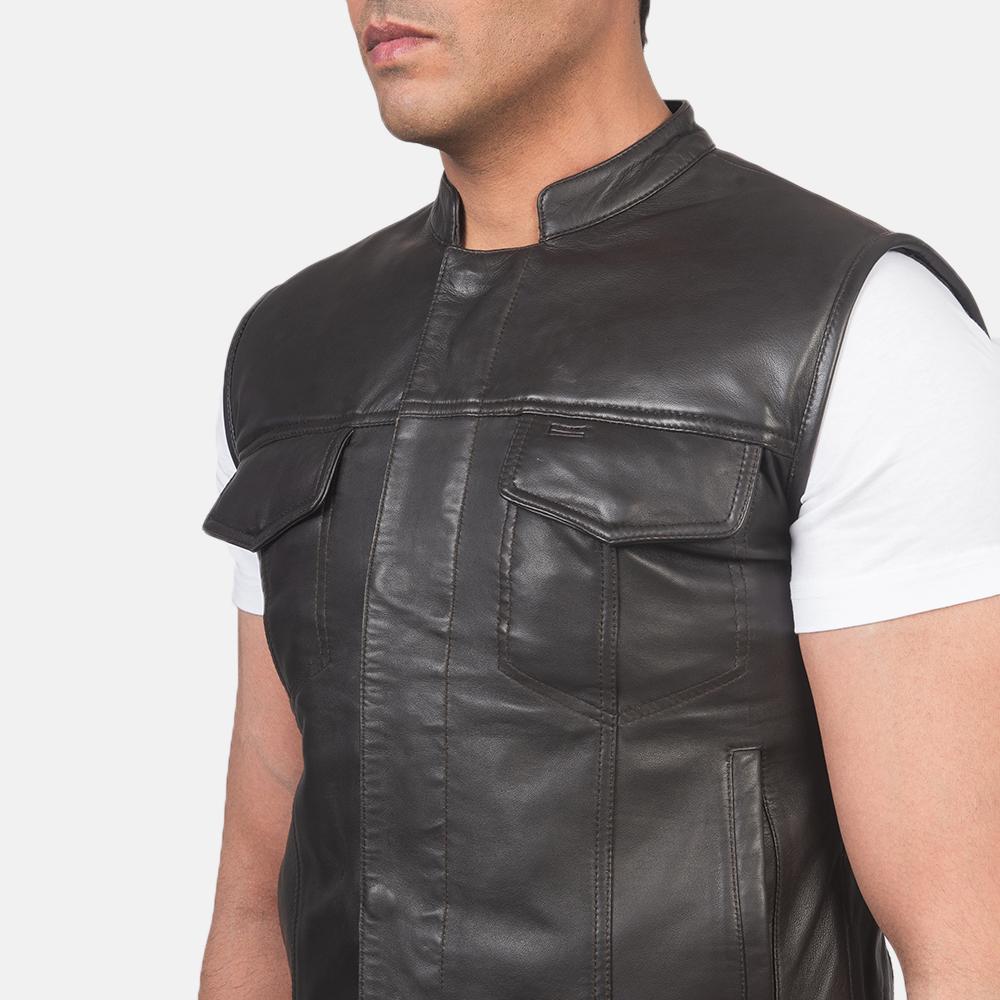 Men's Atlas Moto Brown Leather Vest 6
