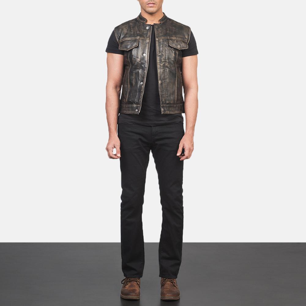 Men's Atlas Moto Distressed Brown Leather Vest 1