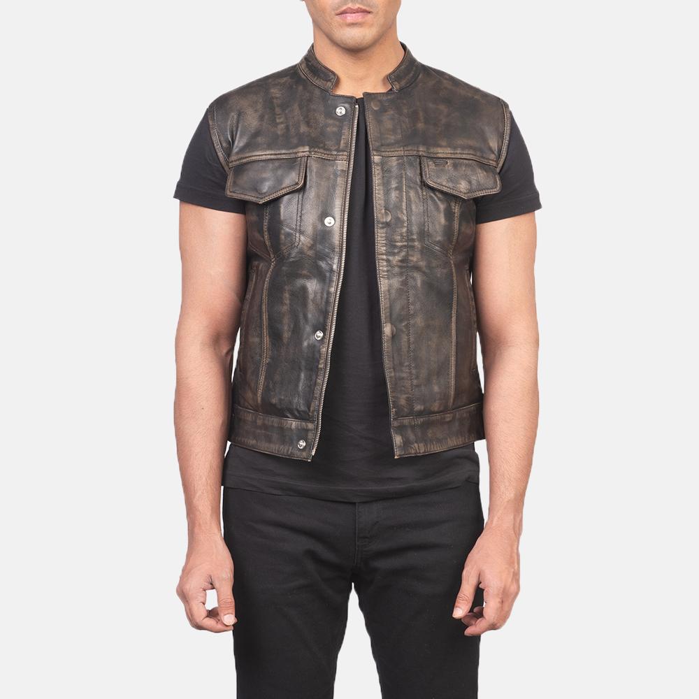 Men's Atlas Moto Distressed Brown Leather Vest 3