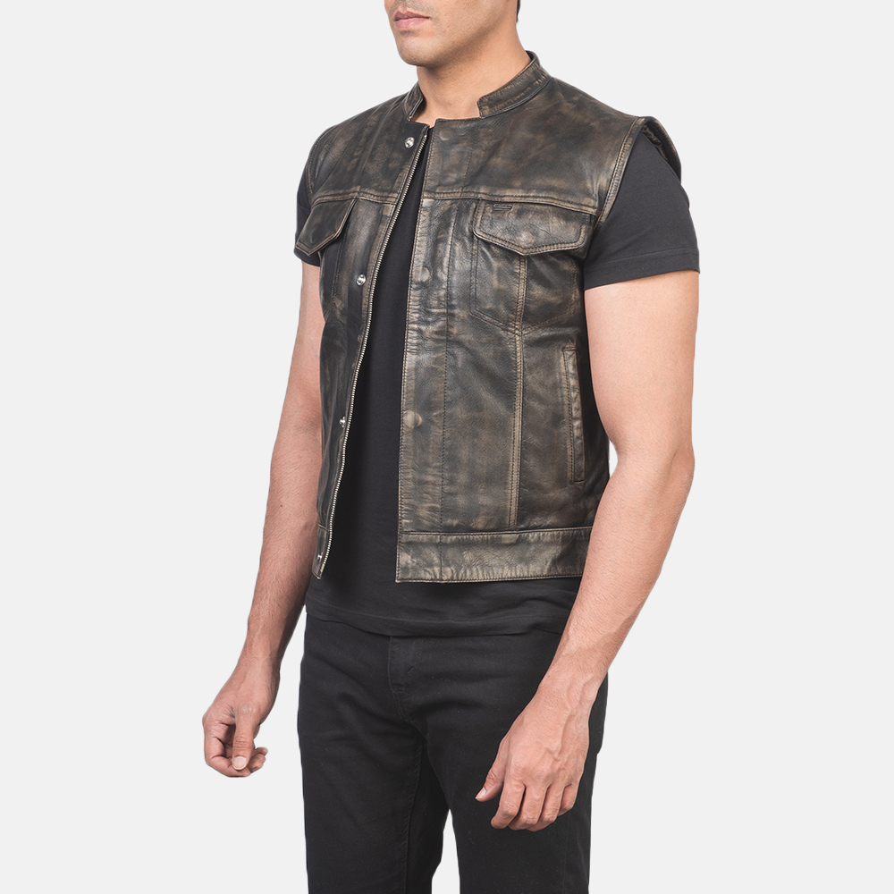 Men's Atlas Moto Distressed Brown Leather Vest 2