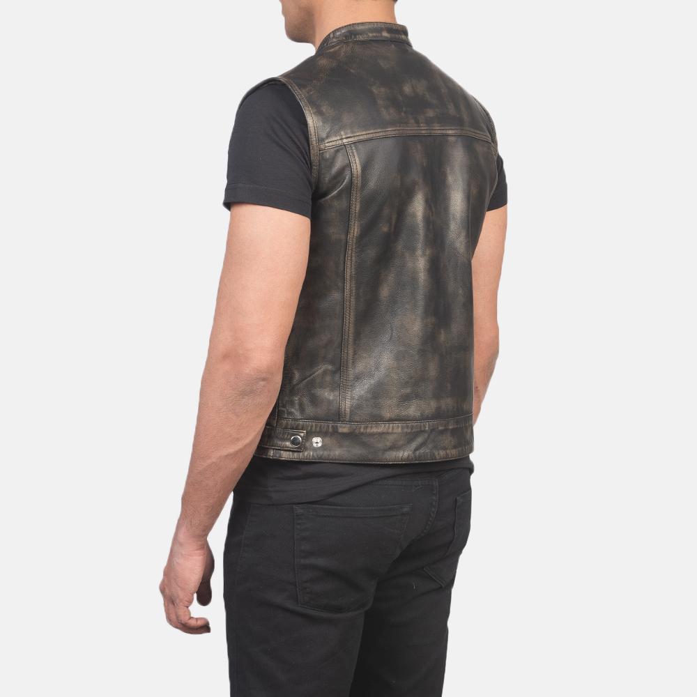 Men's Atlas Moto Distressed Brown Leather Vest 5