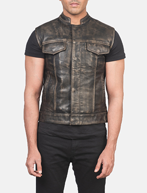 Men's Atlas Moto Distressed Brown Leather Vest