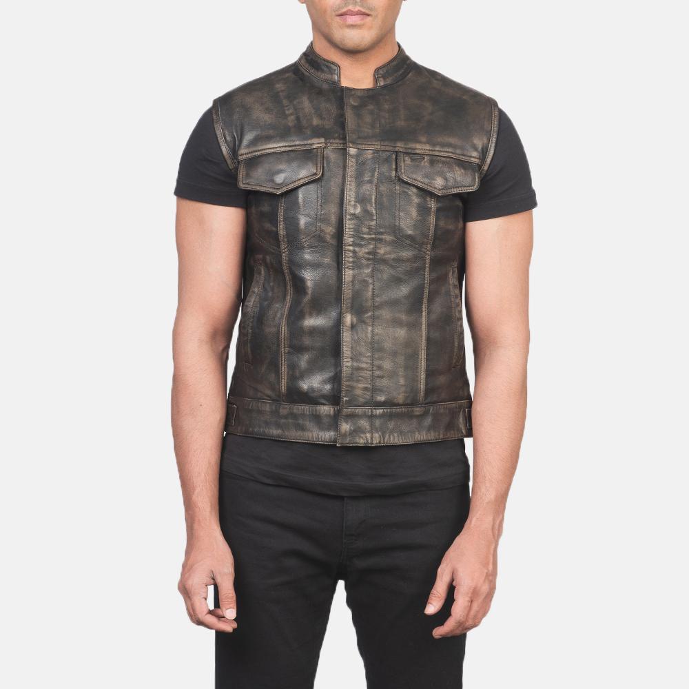 Men's Atlas Moto Distressed Brown Leather Vest 4