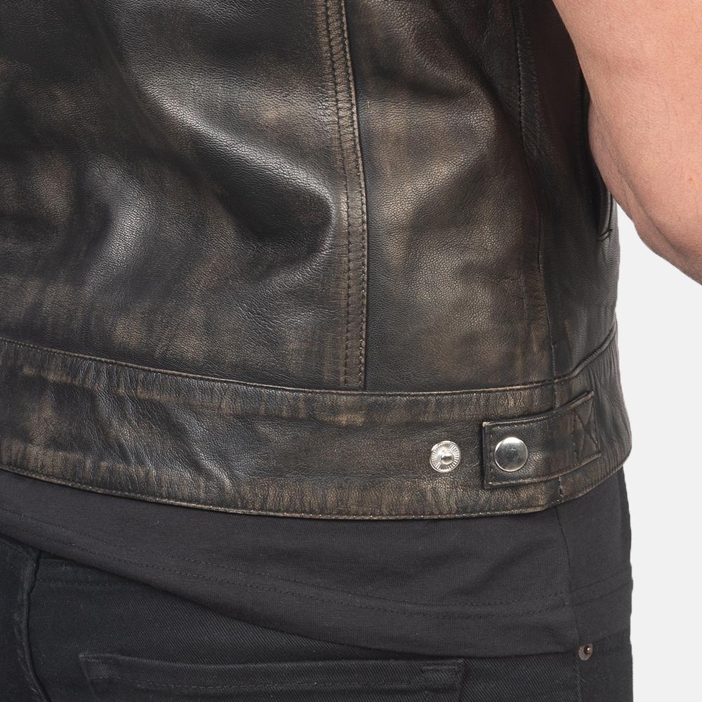 Men's Atlas Moto Distressed Brown Leather Vest 6