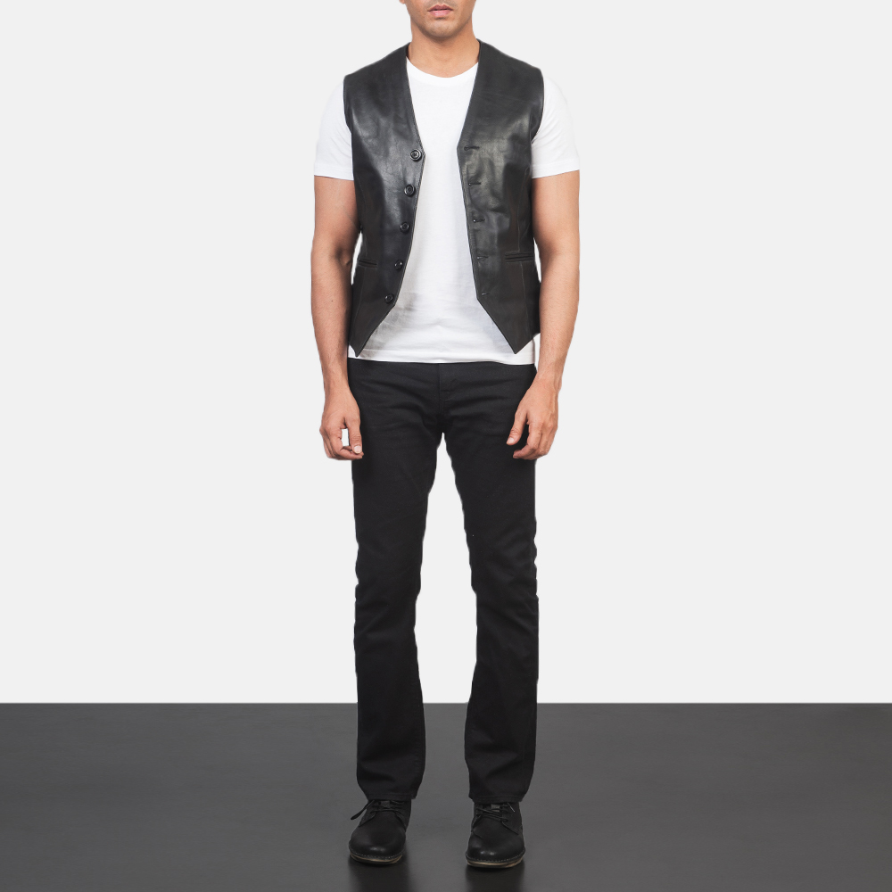 Men's Auden Black Leather Vest 1
