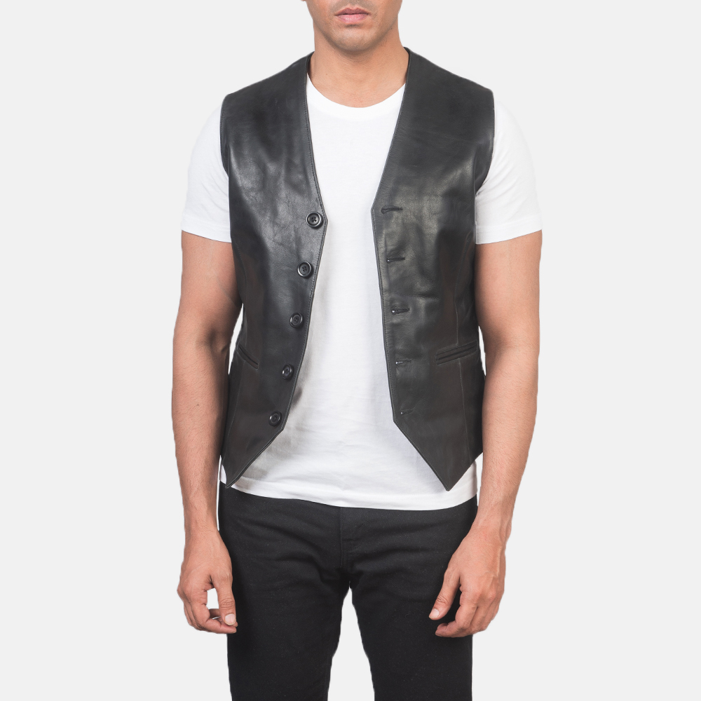 Men's Auden Black Leather Vest 3