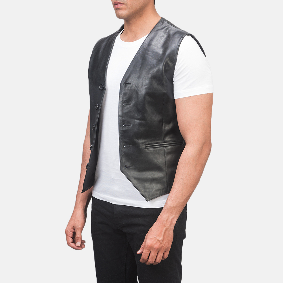 Men's Auden Black Leather Vest 2