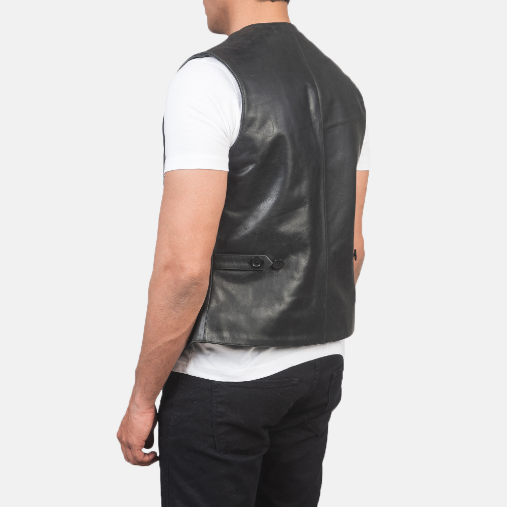 Men's Auden Black Leather Vest 5