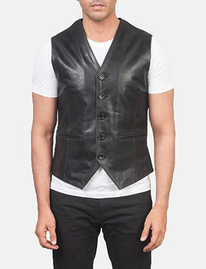 Men's Auden Black Leather Vest
