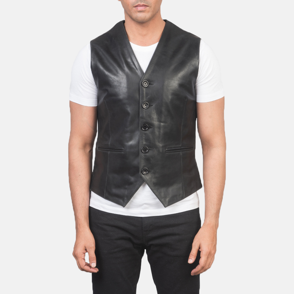 Men's Auden Black Leather Vest 4