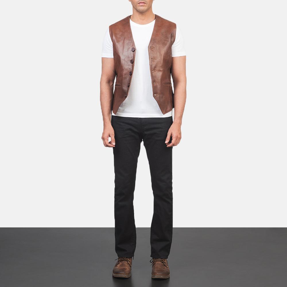 Men's Auden Brown Leather Vest 1