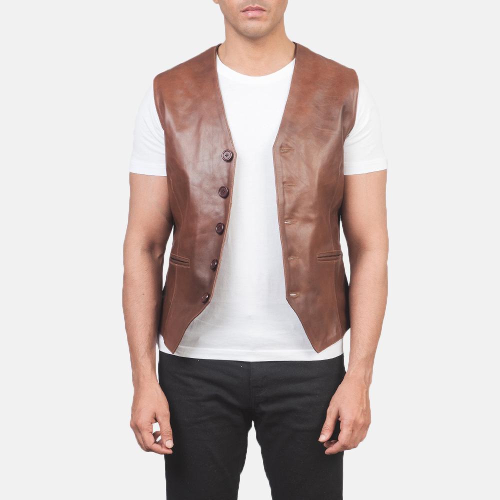 Men's Auden Brown Leather Vest 3