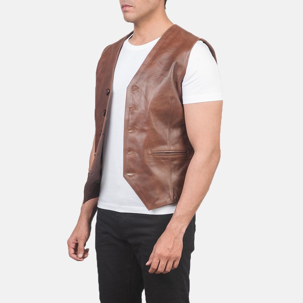 Men's Auden Brown Leather Vest 2