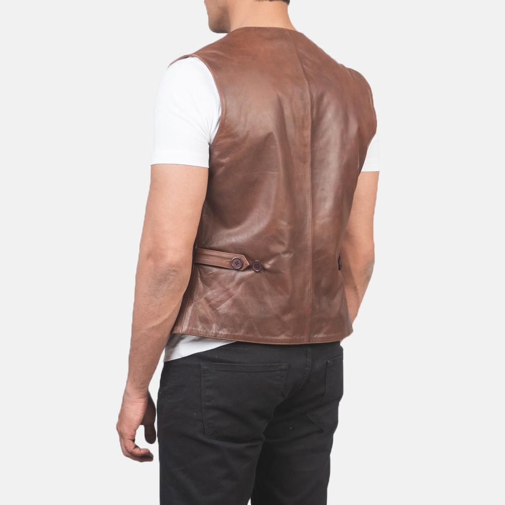 Men's Auden Brown Leather Vest 5