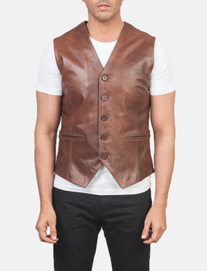 Men's Auden Brown Leather Vest
