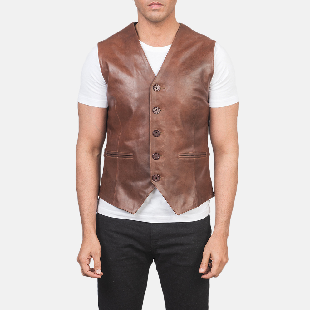 Men's Auden Brown Leather Vest 4