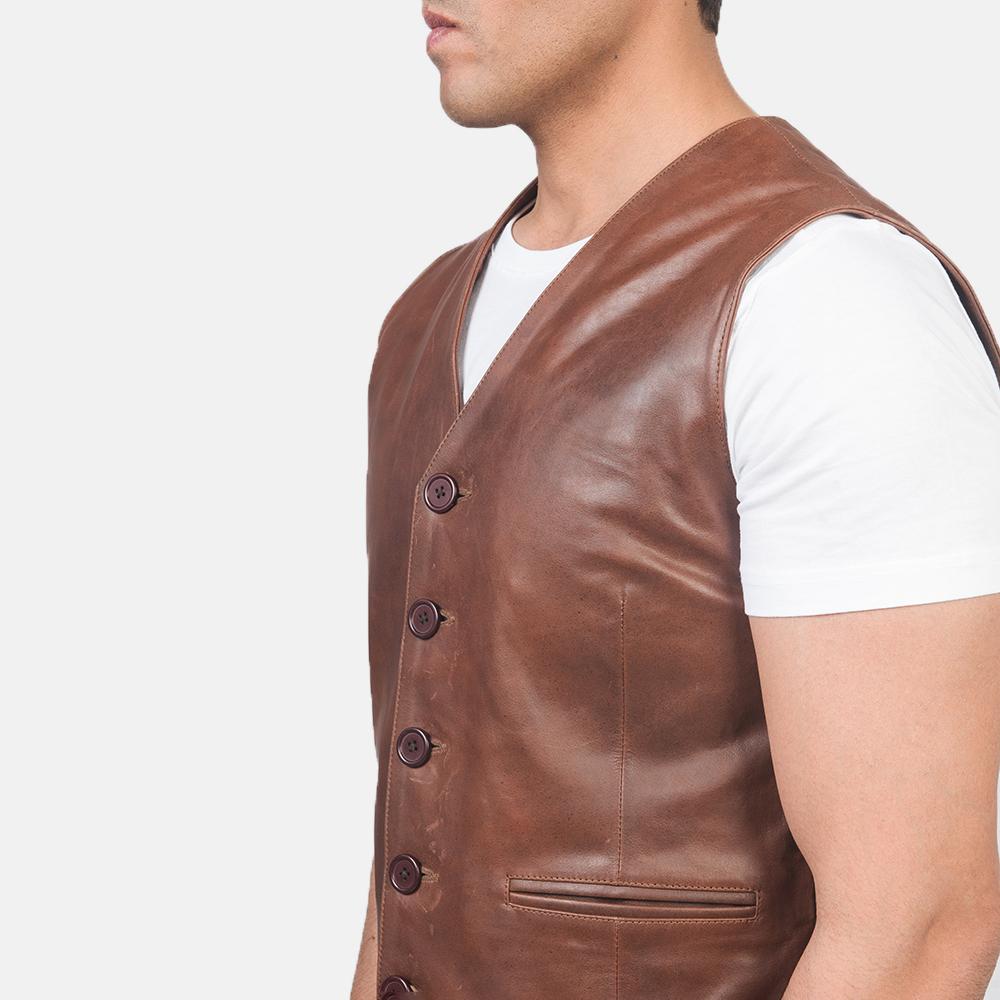 Men's Auden Brown Leather Vest 6