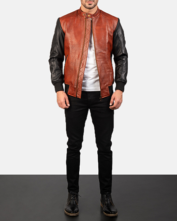 Men's Avan Black & Maroon Leather Bomber Jacket 1