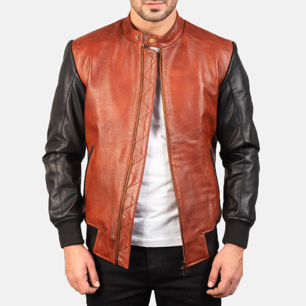 Men's Avan Black & Maroon Leather Bomber Jacket 3