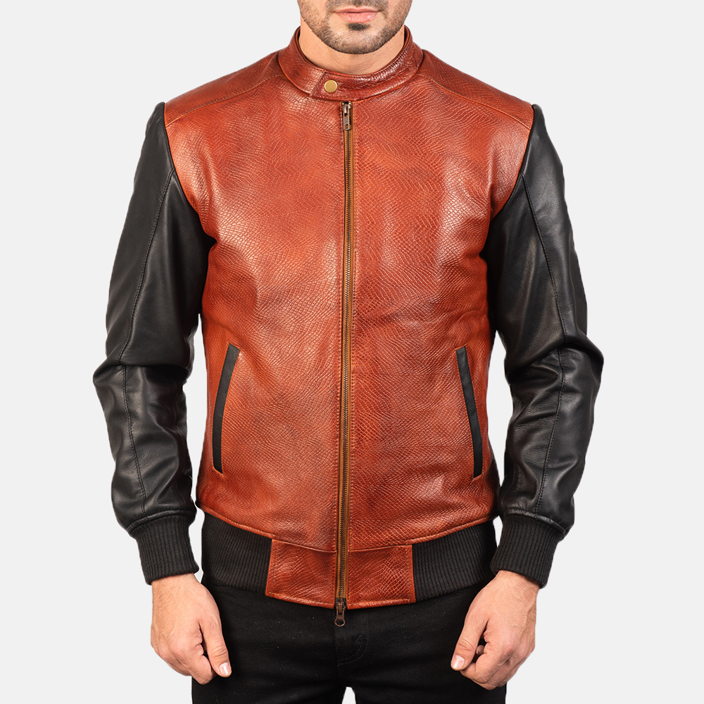 Men's Avan Black & Maroon Leather Bomber Jacket 4