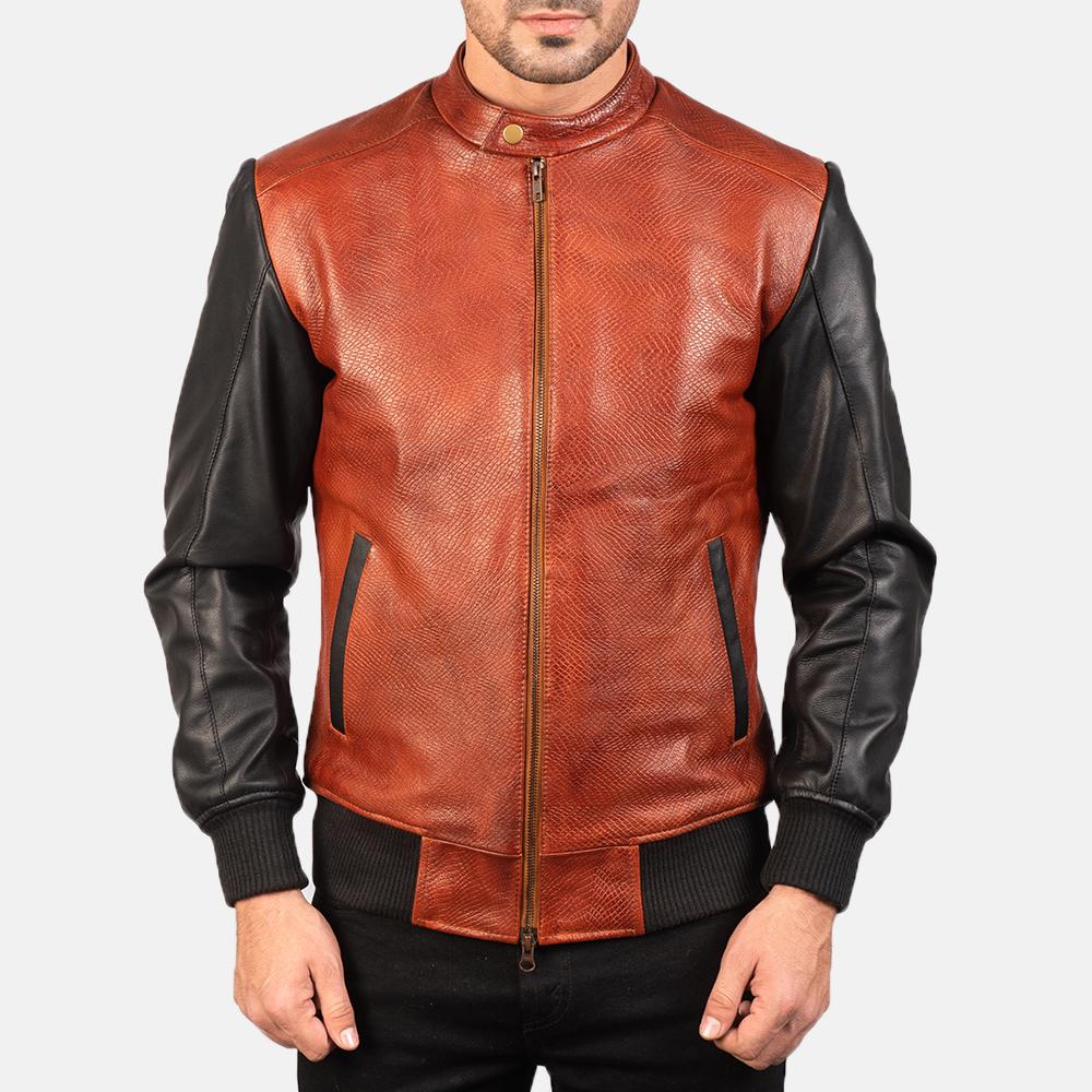 Men's Avan Black & Maroon Leather Bomber Jacket 4