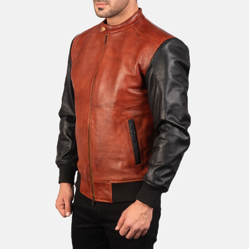 Men's Avan Black & Maroon Leather Bomber Jacket 2