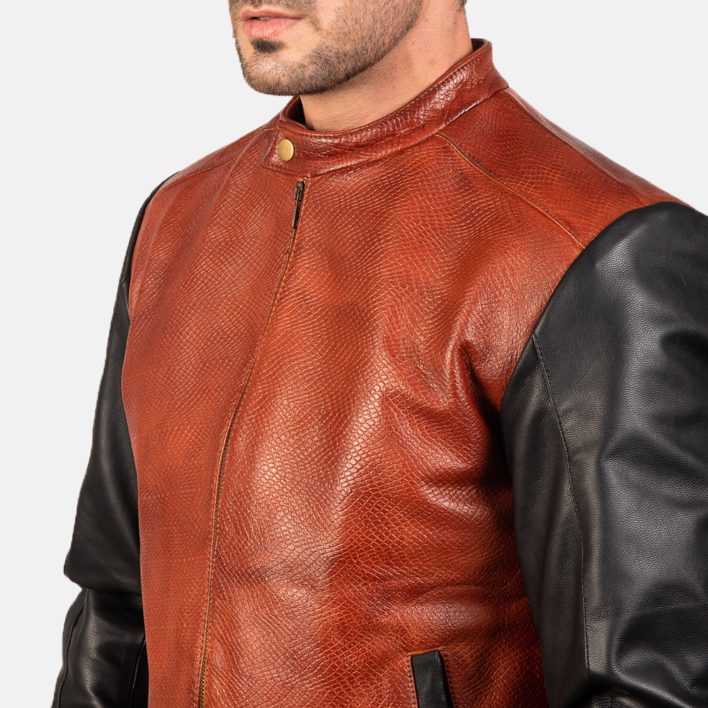 Men's Avan Black & Maroon Leather Bomber Jacket 6