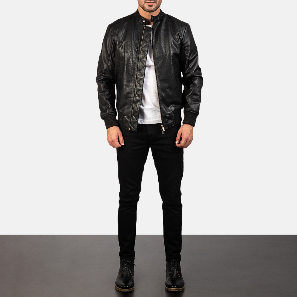 Men's Avan Black Leather Bomber Jacket 1