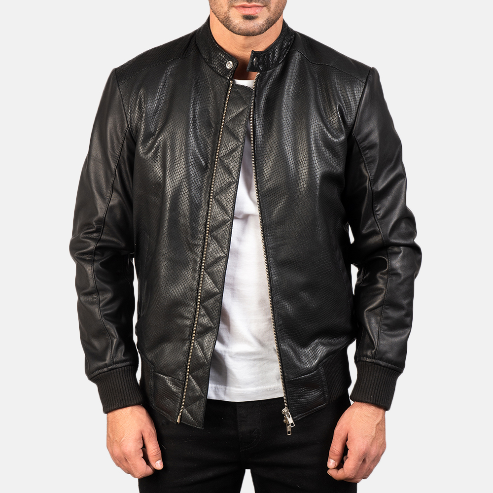 Men's Avan Black Leather Bomber Jacket 3