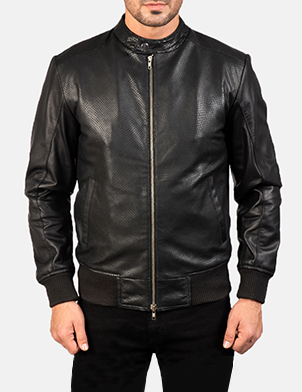 Men's Avan Black Leather Bomber Jacket