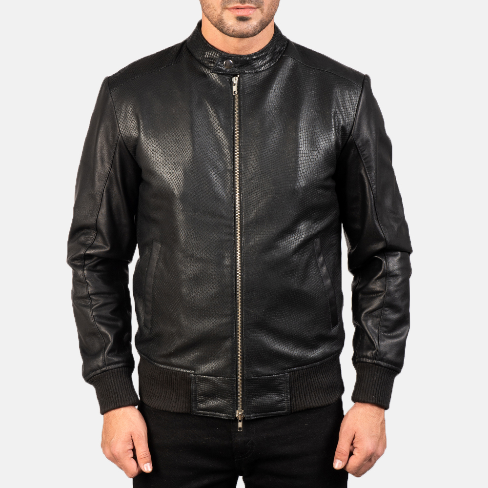 Men's Avan Black Leather Bomber Jacket 4