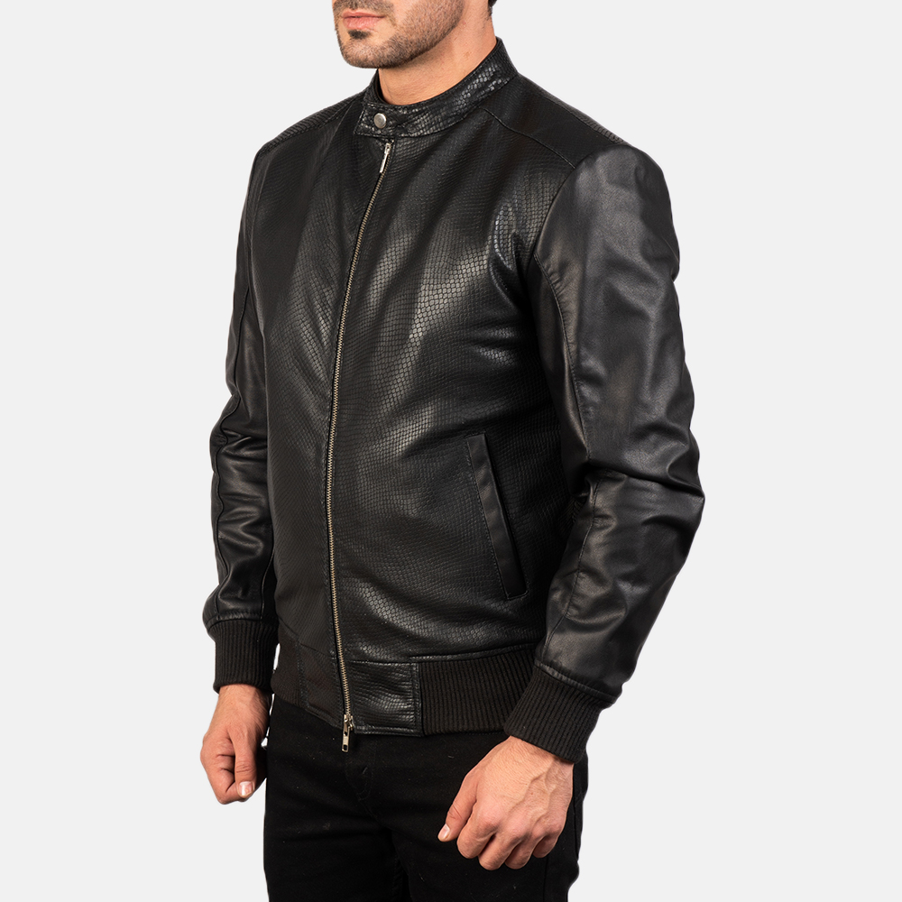 Men's Avan Black Leather Bomber Jacket 2