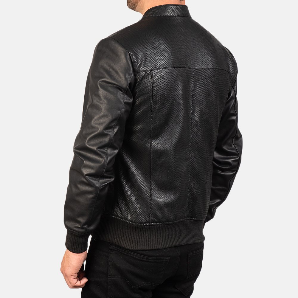 Men's Avan Black Leather Bomber Jacket 5