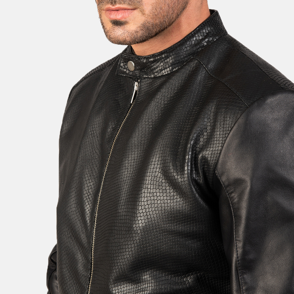 Men's Avan Black Leather Bomber Jacket 6