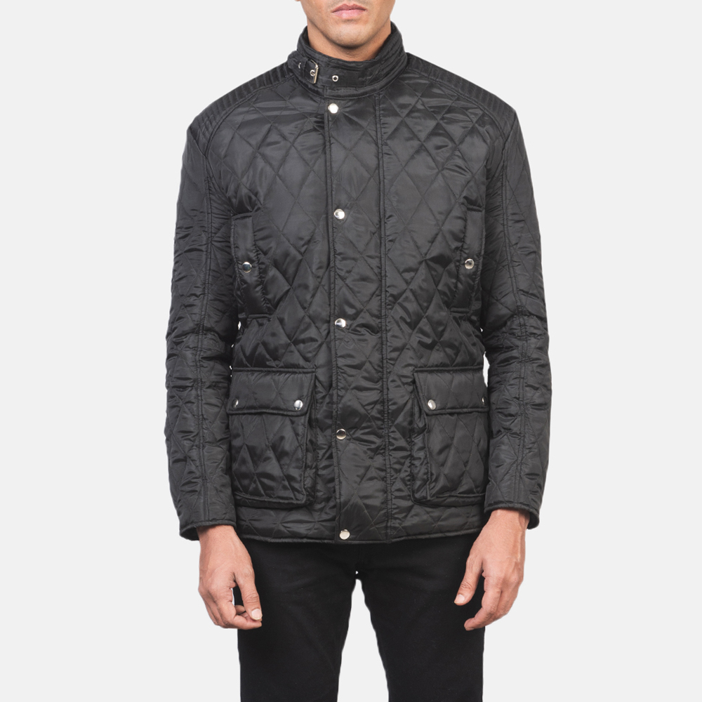 Men's Barry Quilted Black Windbreaker Jacket 4