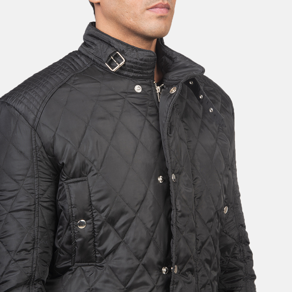 Men's Barry Quilted Black Windbreaker Jacket 6
