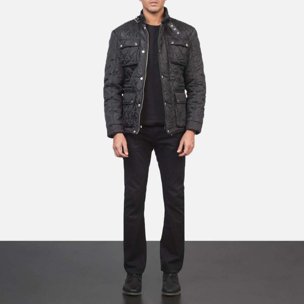 Men's Barry Quilted Black Windbreaker Jacket 1