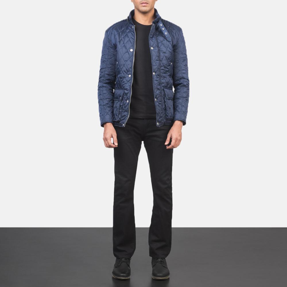 Men's Barry Quilted Blue Windbreaker Jacket 1
