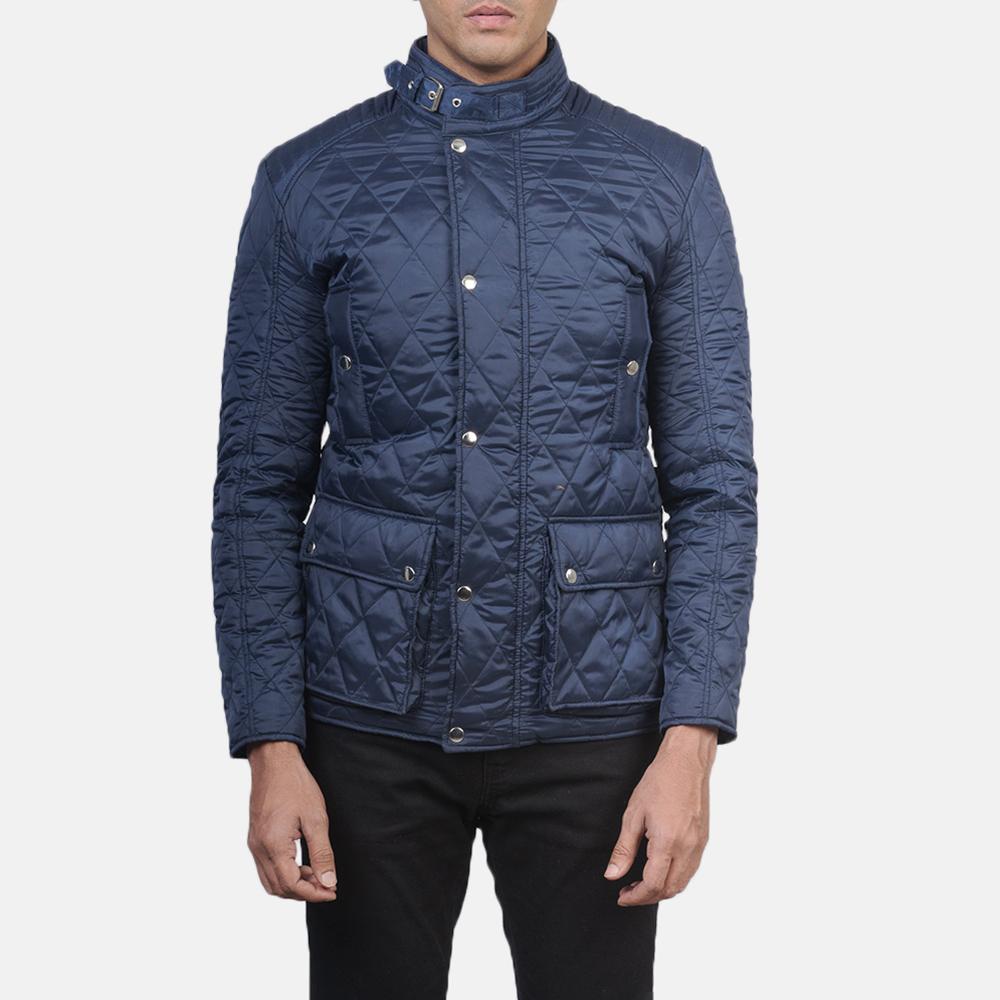 Men's Barry Quilted Blue Windbreaker Jacket 4