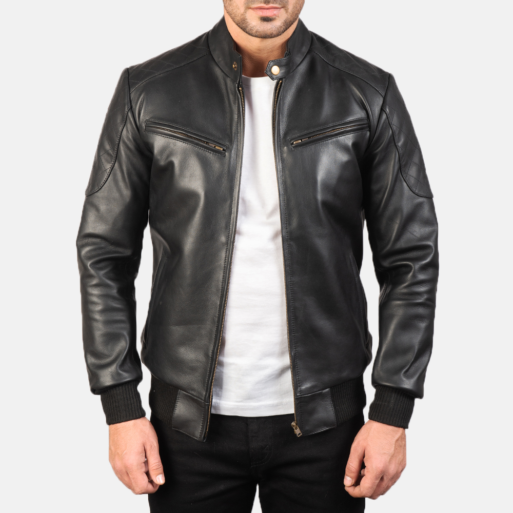Mens Sven Black Leather Bomber Jacket 3
