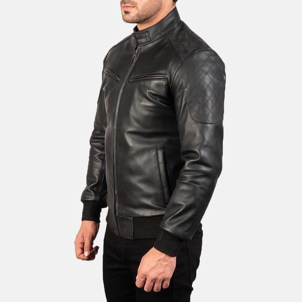 Mens Sven Black Leather Bomber Jacket 2