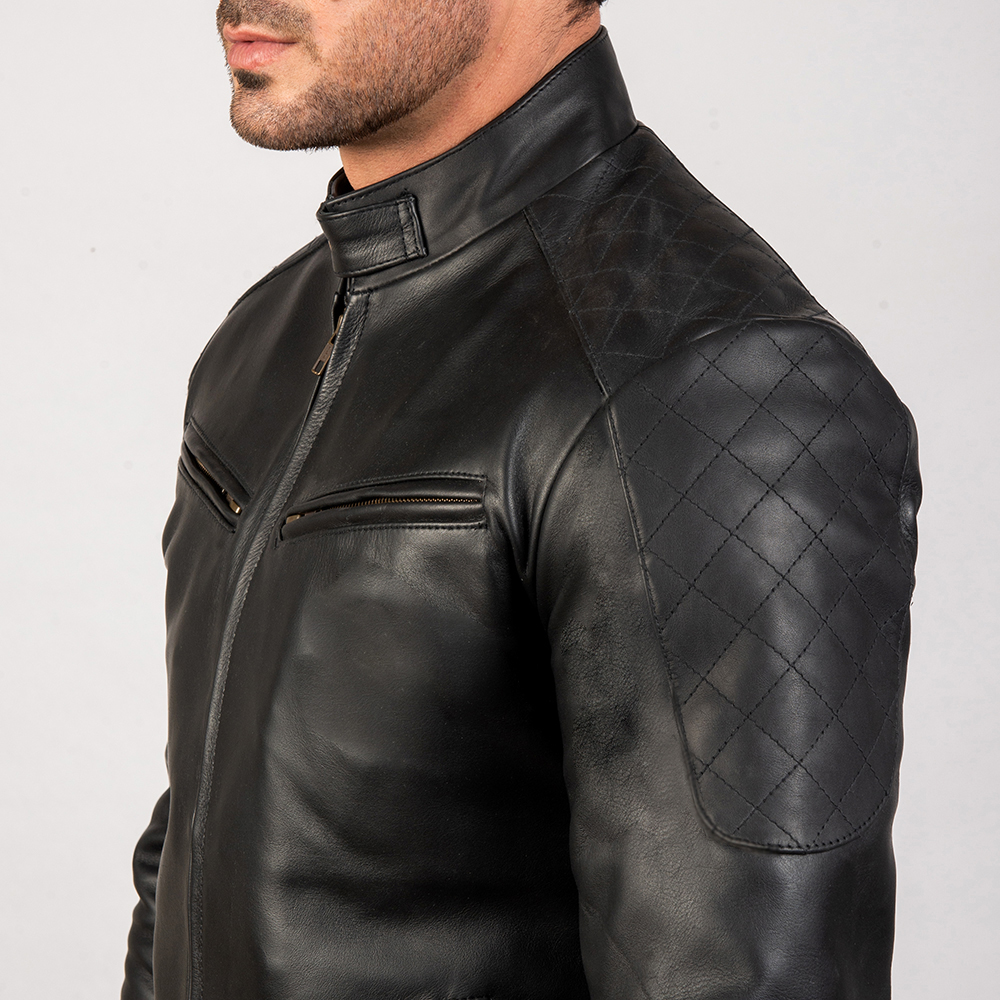 Mens Sven Black Leather Bomber Jacket 6